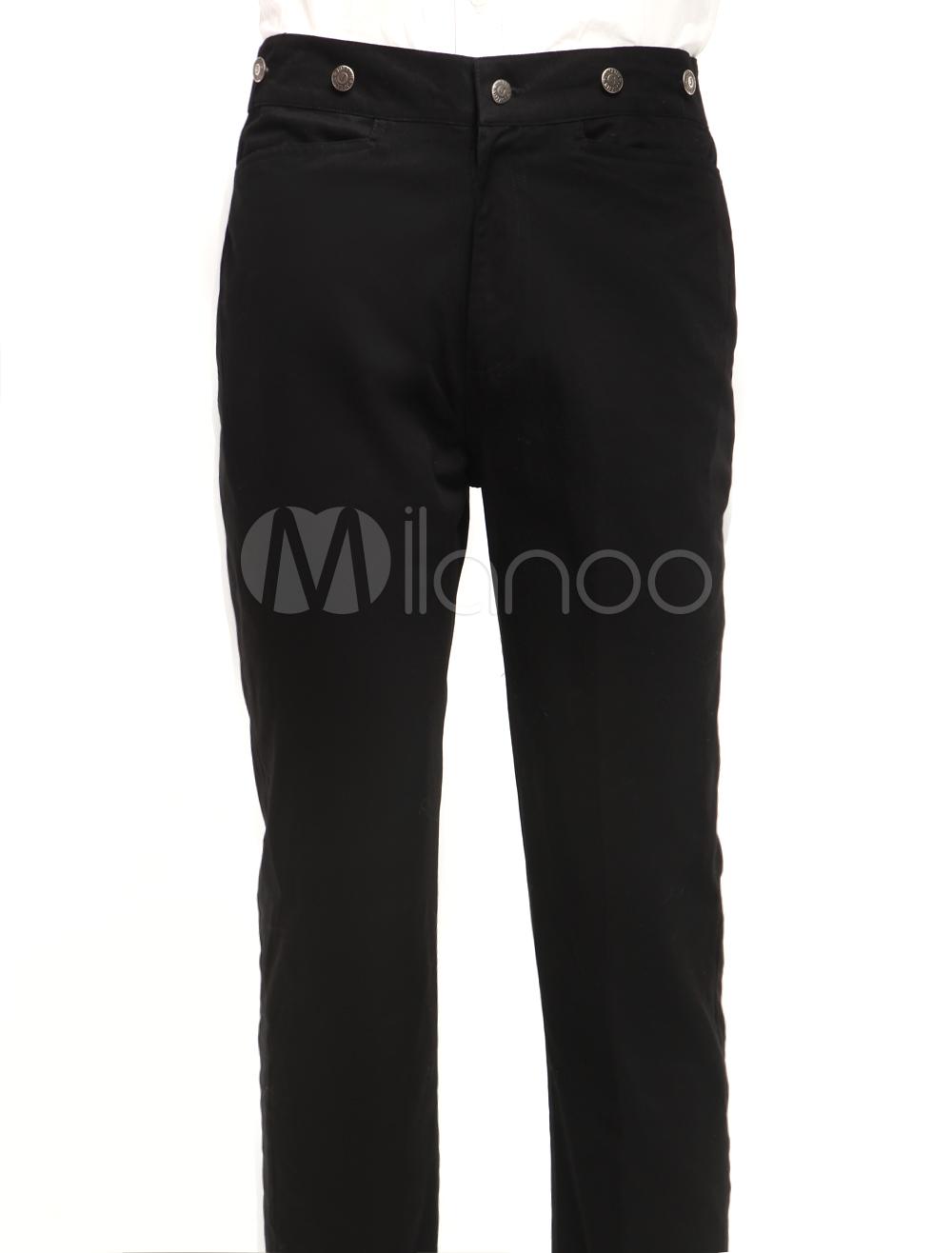 Smart Black Cotton Mens Steampunk Trousers $49.99 AT vintagedancer.com