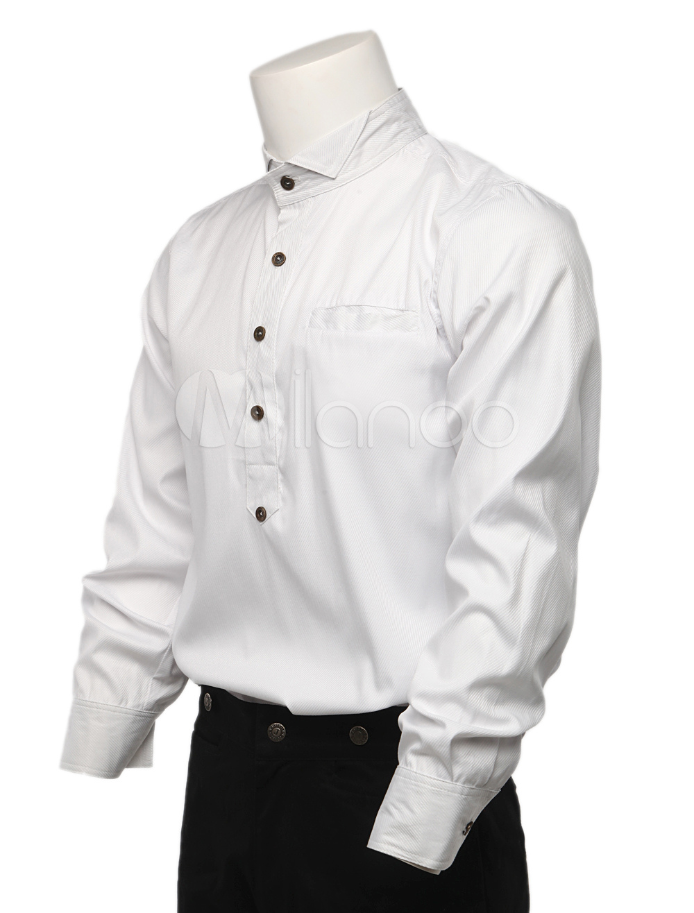 Cozy White Cotton Long Sleeves Steampunk Shirt For Men $50.99 AT vintagedancer.com