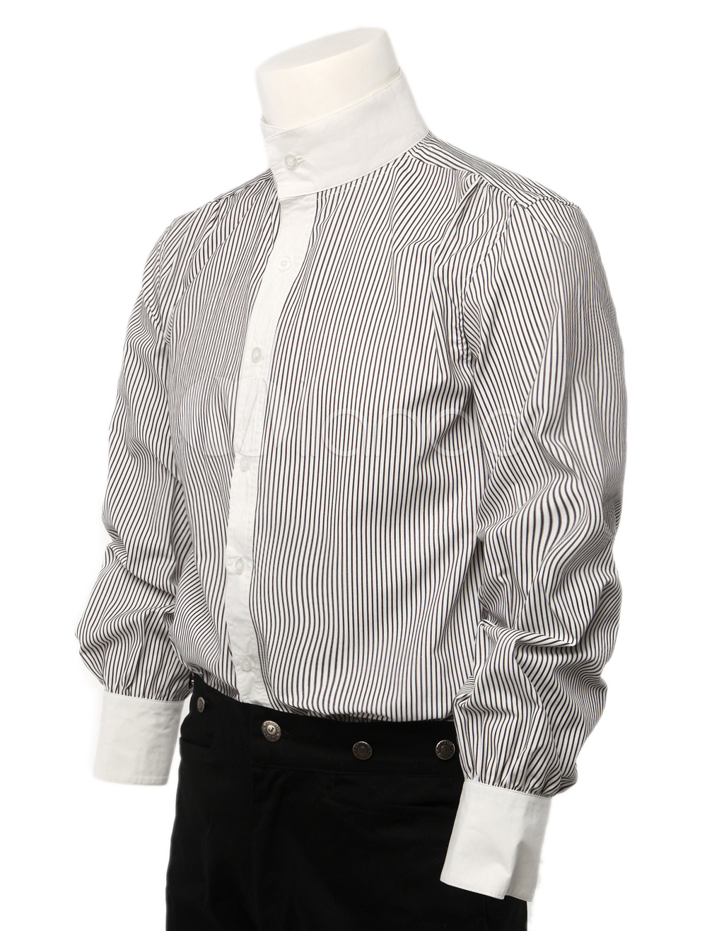 Gray Stripe Pure Cotton Mens Modern Steampunk Shirts $40.99 AT vintagedancer.com