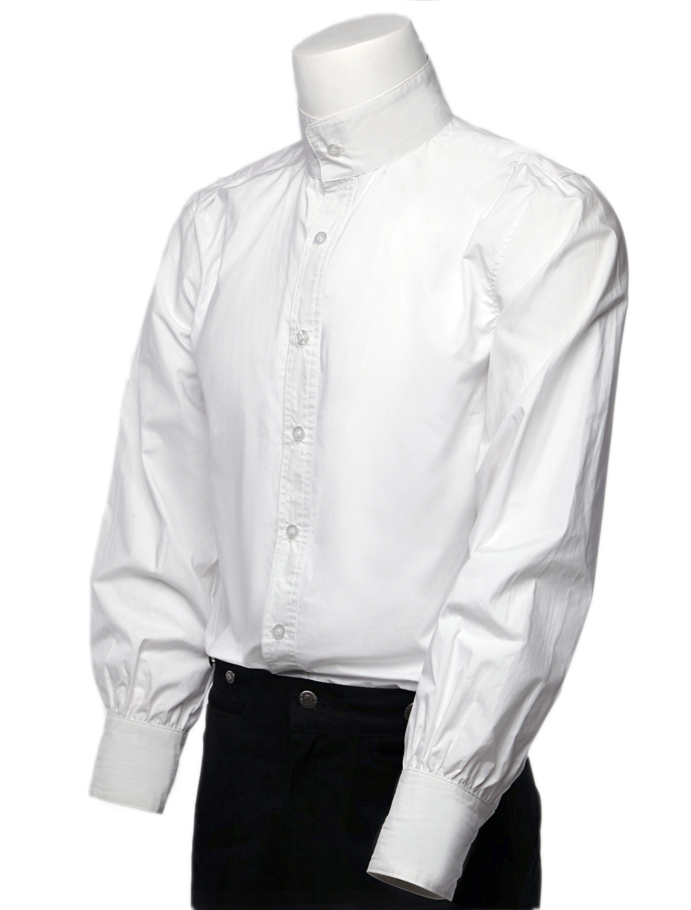White Solid Color Pure Cotton Mens Fashion Steampunk Shirts $40.99 AT vintagedancer.com