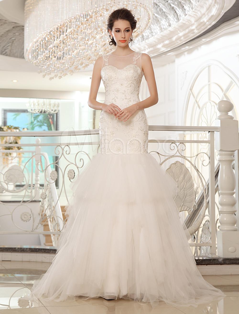 Vestito da sposa a sirena senza spalline con perline avorio - Milanoo ...