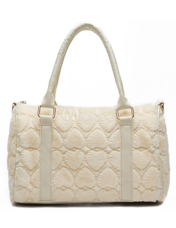 Sweet White Faux Fur Quilted Women's Tote Bag