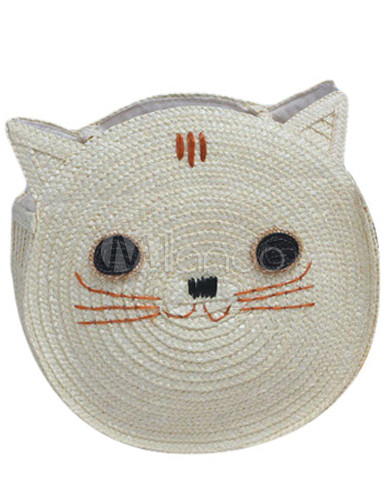 Cat Shaped Straw Woven Women's Tote Beach Bag