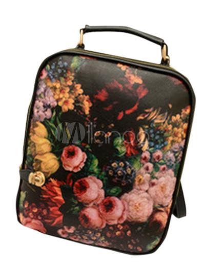 Cute Black Floral Print PU Leather Womenu0026#39;s Cross Body Bag - Milanoo.com