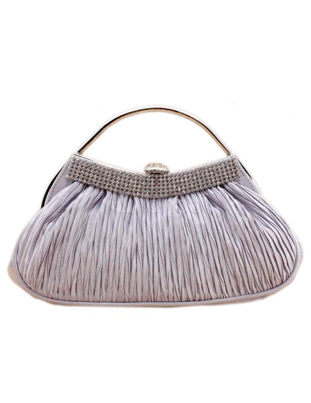 Fashion Silver Rhinestone Glitter Satin Clutch Bag for Woman