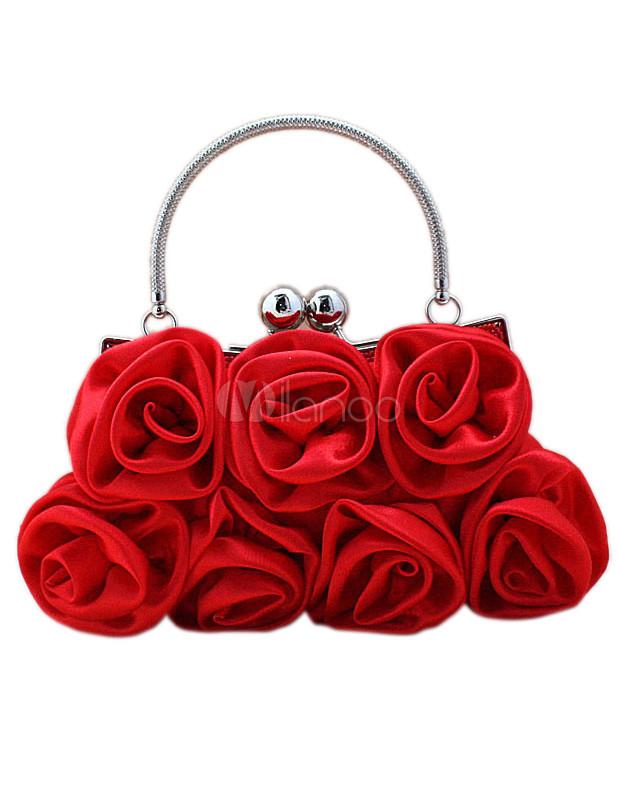Red Flower Satin Clutch Bag