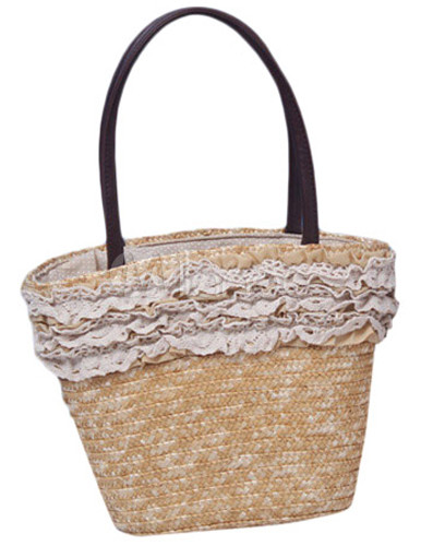 Sweet Straw Woven Pattern Ruffled Women's Tote Beach Bag