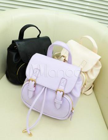 sac dos femme styl tendance cuir pu couleur unie. Black Bedroom Furniture Sets. Home Design Ideas
