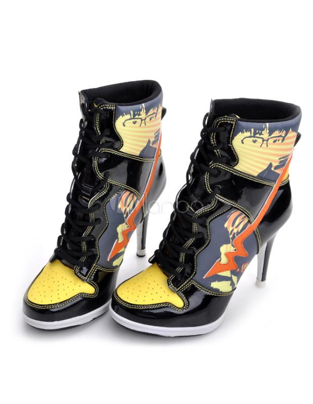 Black Cartoon Print Microfiber Lace Up High Heel Sneakers