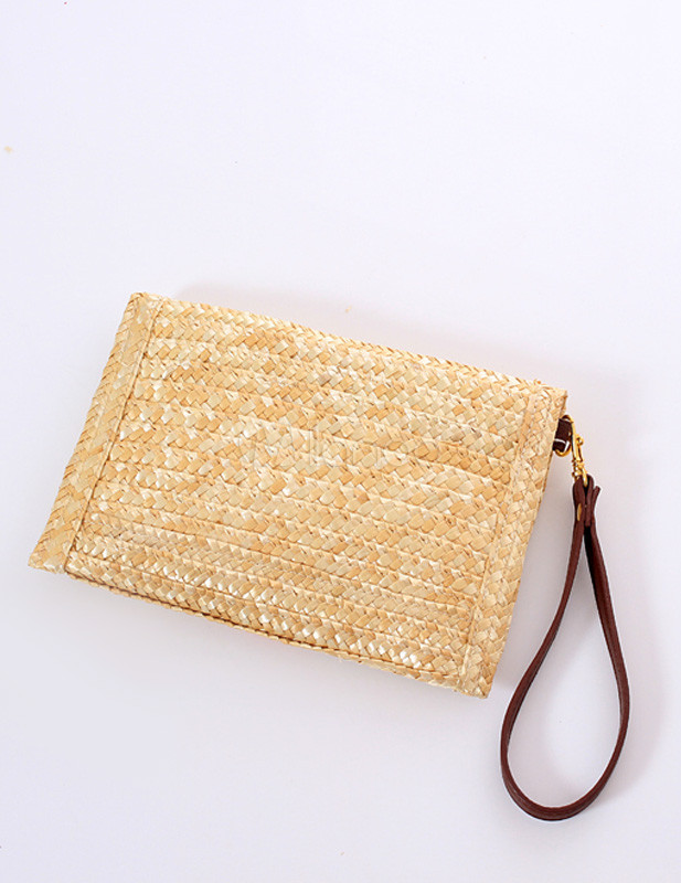 Cute Beige Lips Pattern Envelope Wicker and Rattan Women's Clutch ...