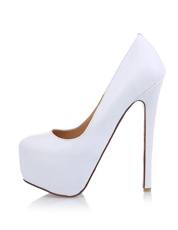sch ne damen brautschuhe aus pu mit high heels in wei. Black Bedroom Furniture Sets. Home Design Ideas