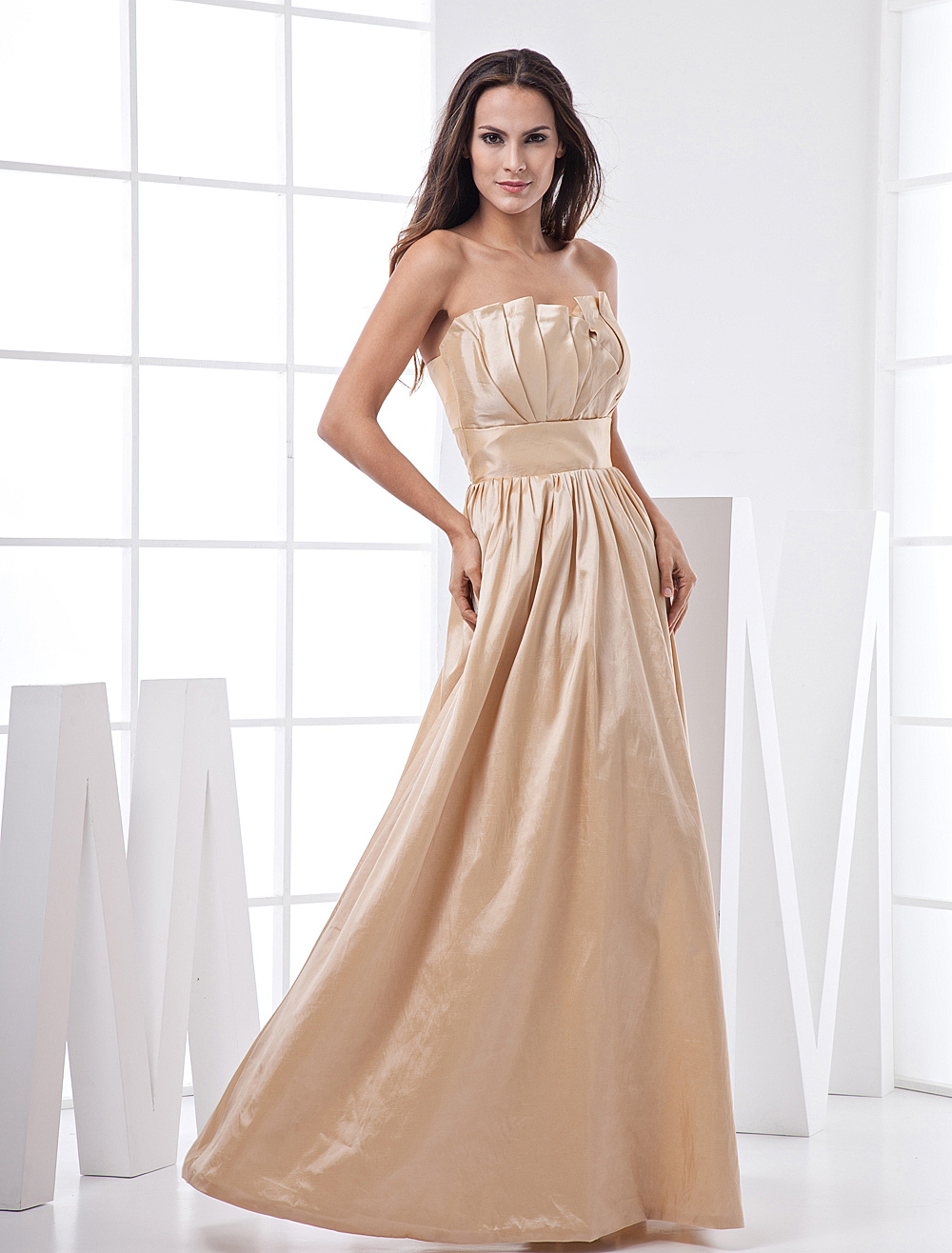 Gold Champagne Taffeta Strapless Floor Length Bridesmaid Dress