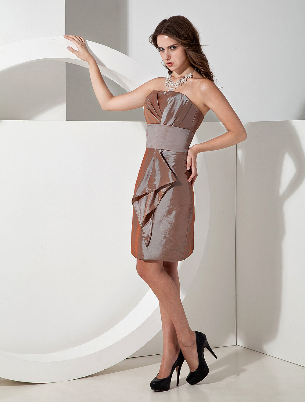 A-line Strapless Cascading Ruffle Brown Taffeta Bridesmaid Dress