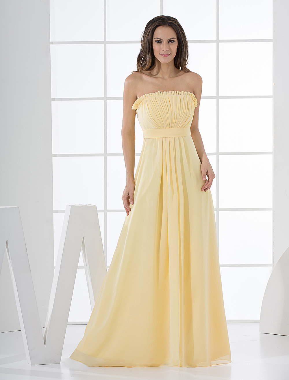 Daffodil Chiffon A-line Strapless Floor Length Bridesmaid Dress