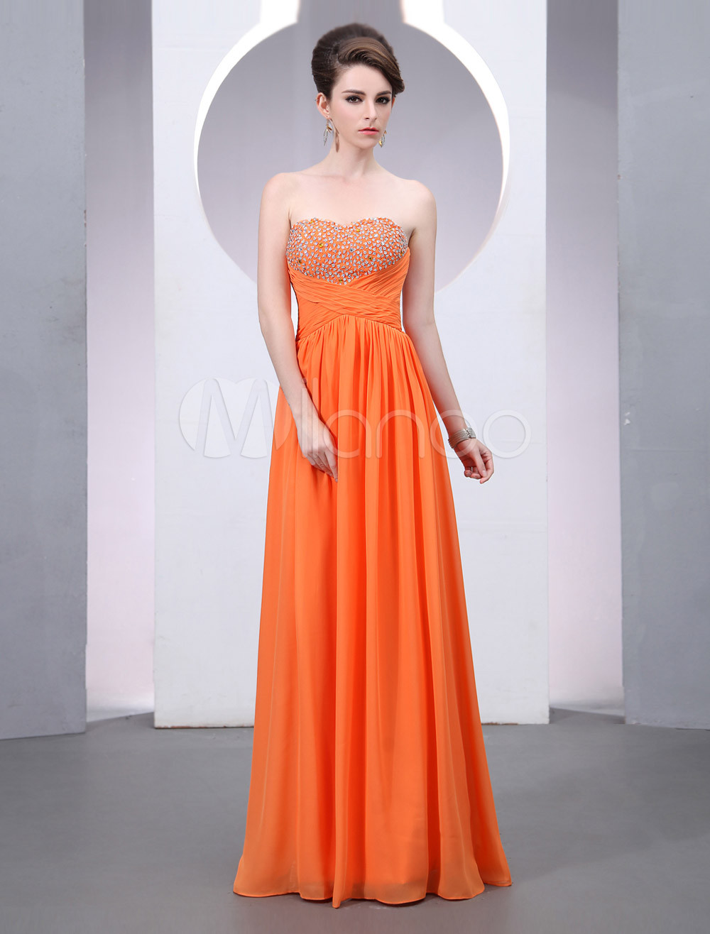 Orange Sweetheart Neck Beading A-line Chiffon Prom Dress