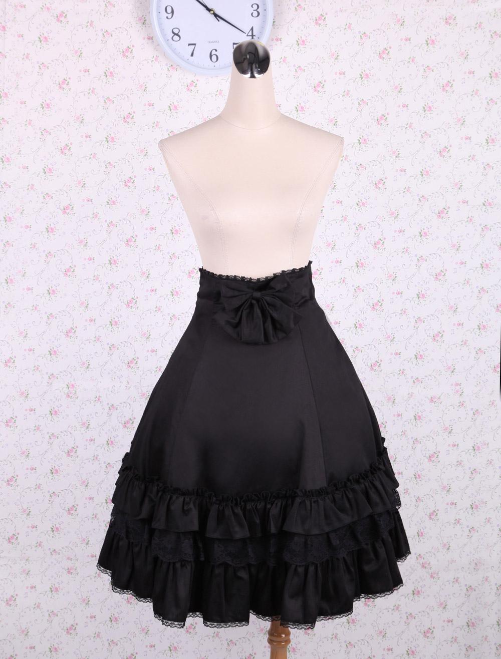 Elegant Black High Waist Lolita Skirt Ruffles Bow and Lace Trim