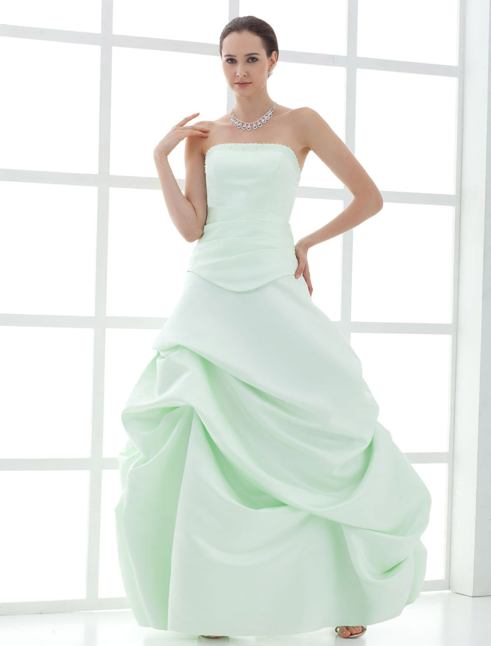 Strapless Ball Gown Satin Mother Of Bride And Groom Dress