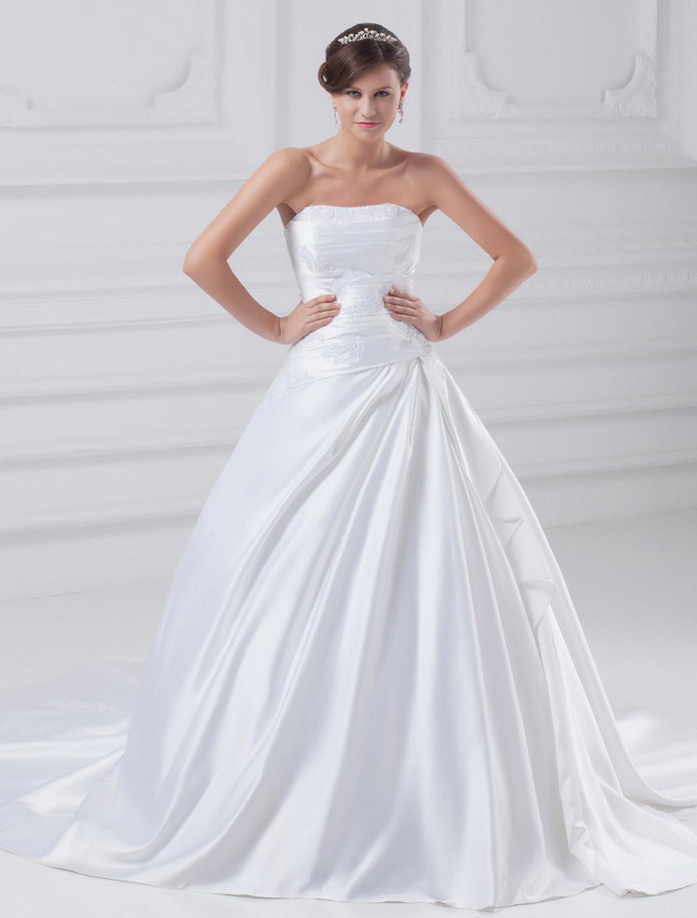 White Ball Gown Beading Satin Wedding Dress For Bride photo