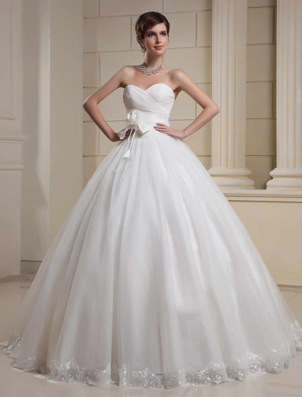 White Ball Gown Sweetheart Floral Applique Tulle Bridal Wedding Dress