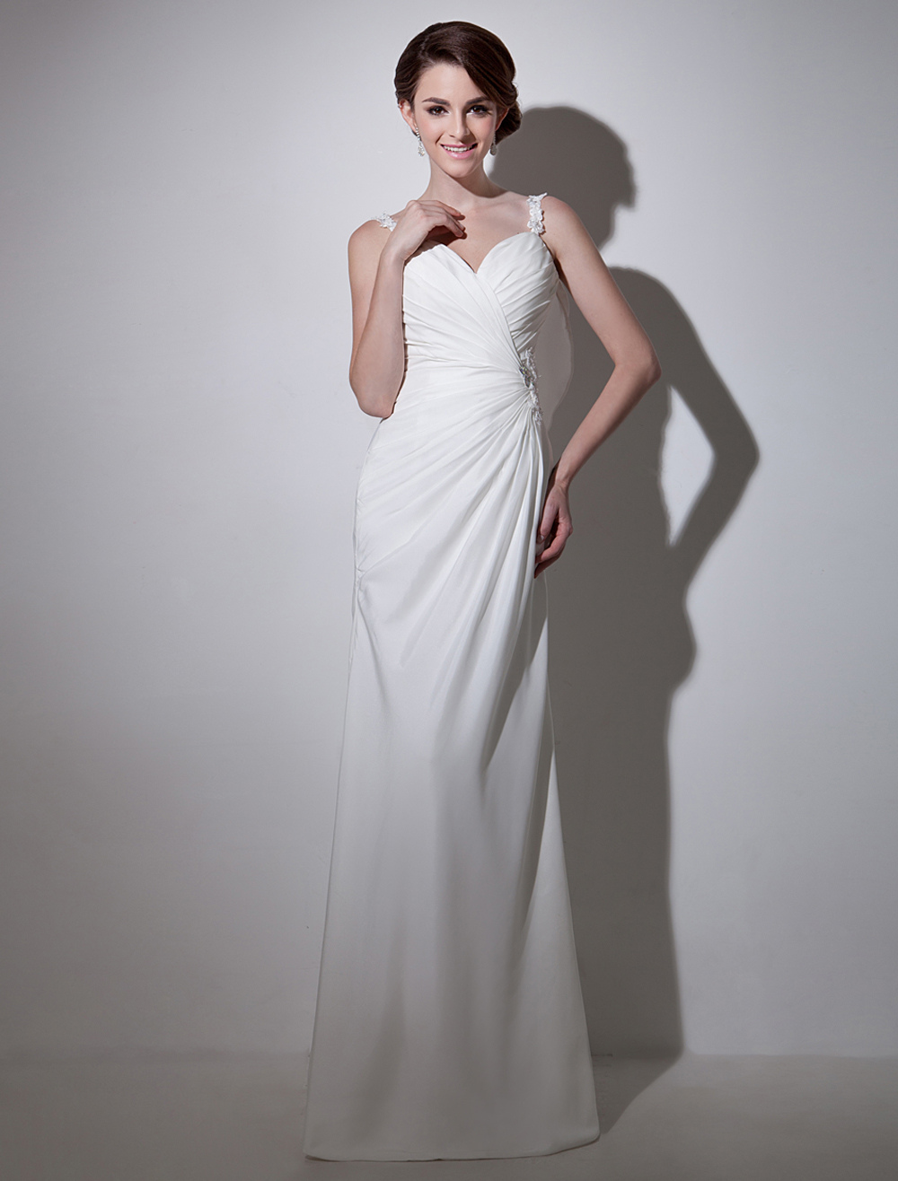White Lace Great Bridal Wedding Dress Milanoo