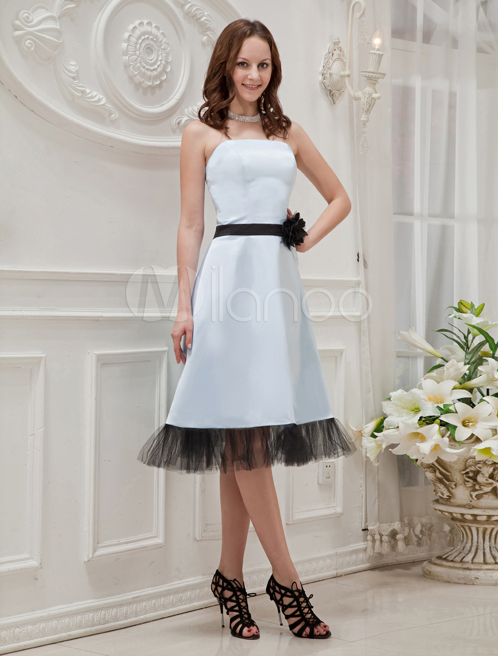 Strapless Satin Tulle Prom Homecoming Dress