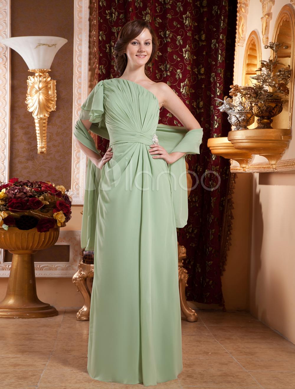 Sage One-Shoulder Floor Length Chiffon Prom Dresses