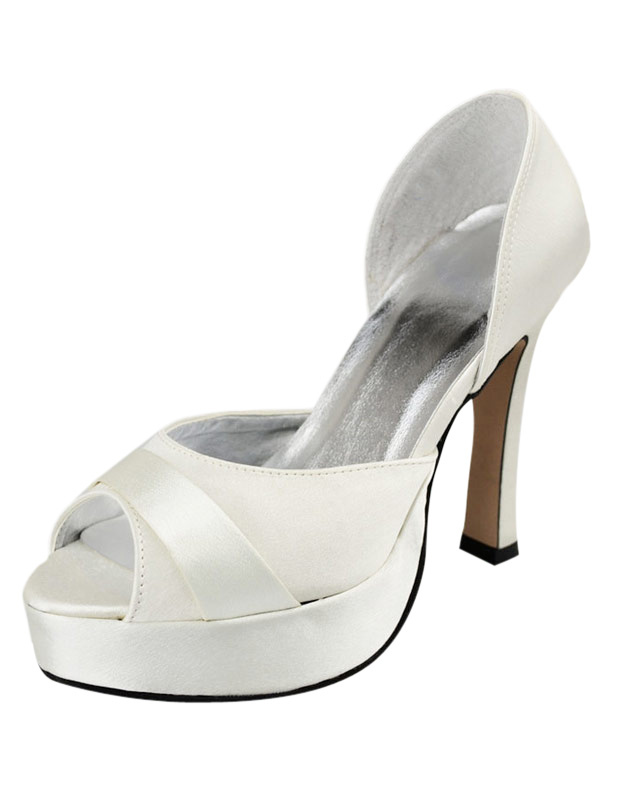 4 High Heel White Platform Satin Peep Toe Wedding Shoes