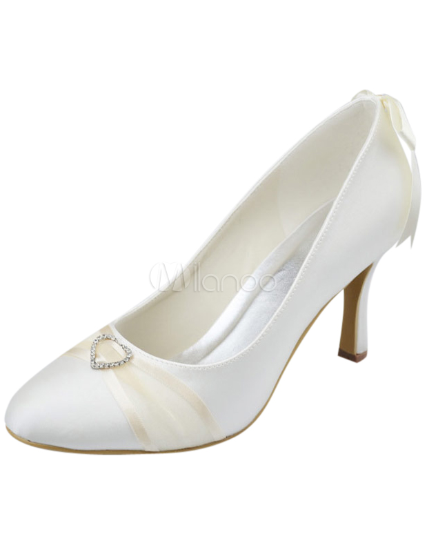 "Elegant Ivory Satin 3 1/5"" High Heel Womens Wedding Shoes"
