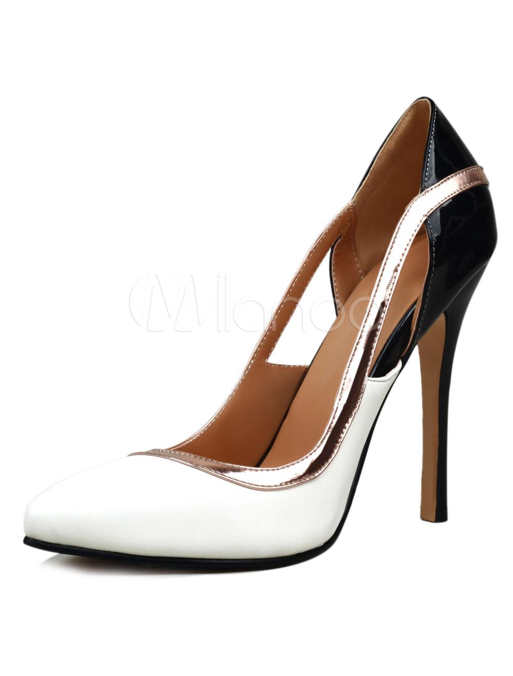 Elegant White Sheepskin Pointed Toe Women's Dress Pumps