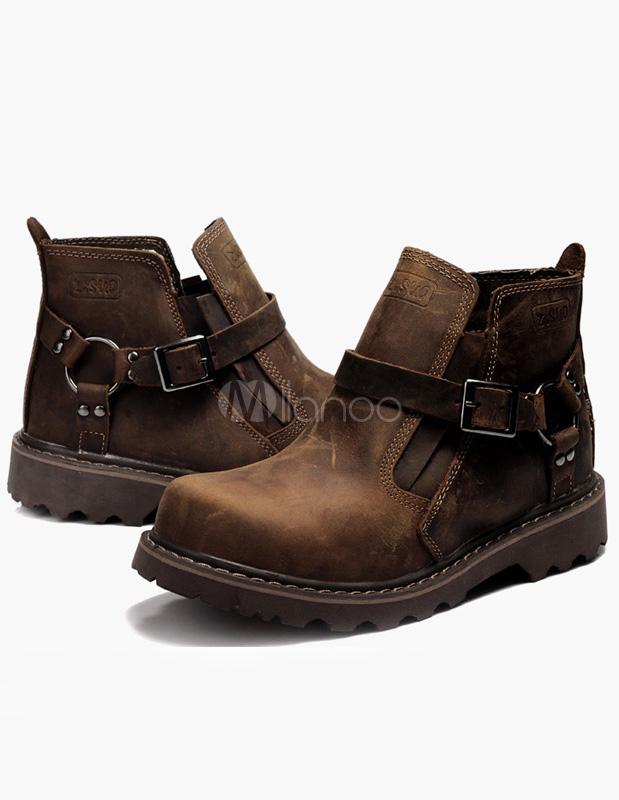 Deep Brown Buckle Cowhide Men's Boots - Milanoo.com
