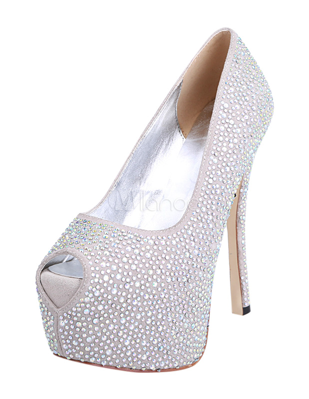formal silver pu leather glitter studded peep toe shoes