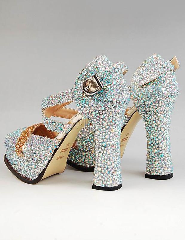Glitter Silver Chunky Heel Sheepskin Almond Toe Woman&39s High Heels