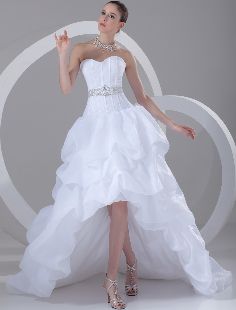 product white wedding dress with strapless tiered sash rhinestones