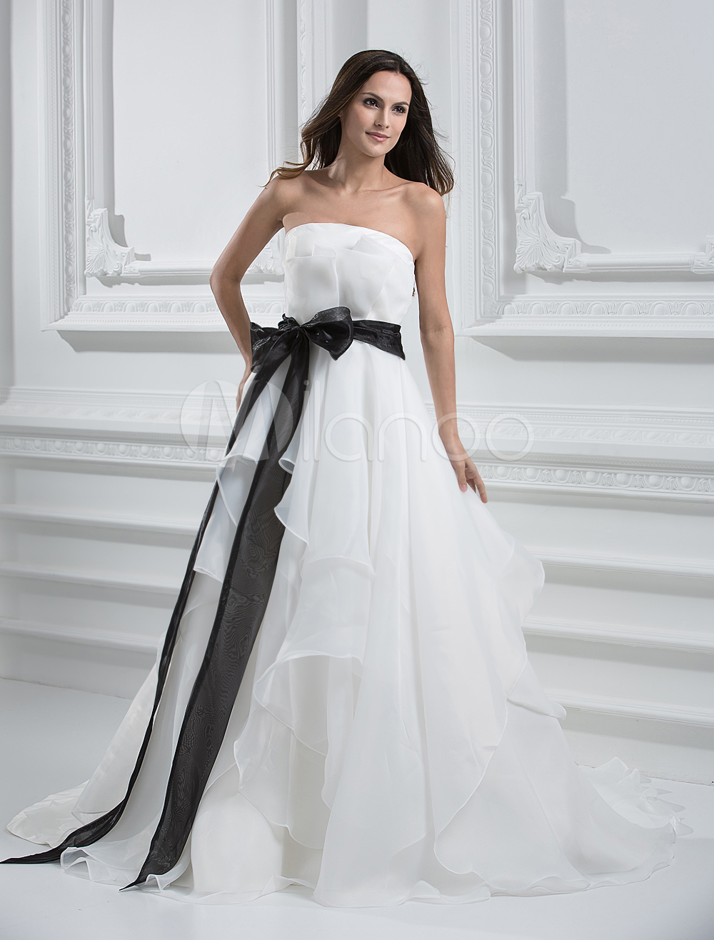 Ivory A-line Strapless Bow Organza Bridal Wedding Dress