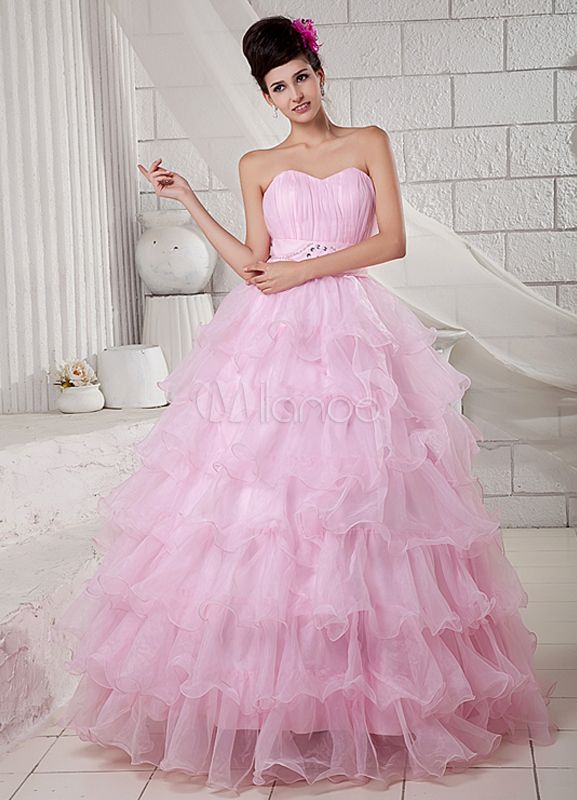 Pink Strapless Beading Organza Satin Ball Gown