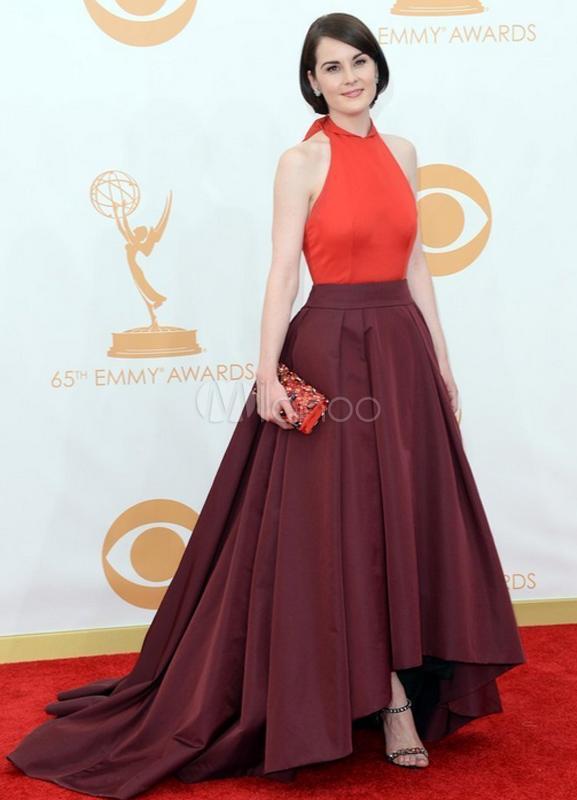 A-line Halter Burgundy Satin Bow Celebrity Dress - Milanoo.com