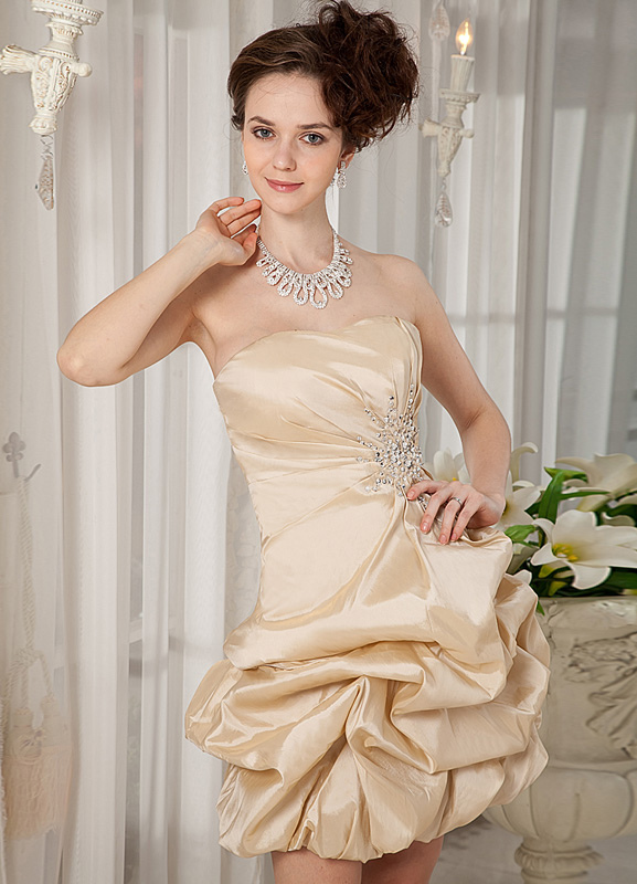 Champagne Sweetheart Sequin Taffeta Woman's Cocktail Dress (Wedding Special Offer) photo