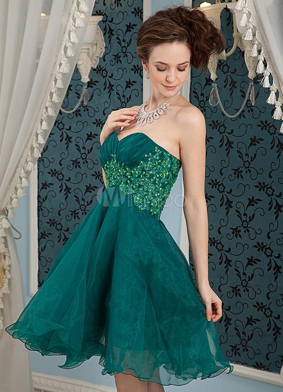 Dark Green Strapless Sweetheart Satin Organza Homecoming Dress ...