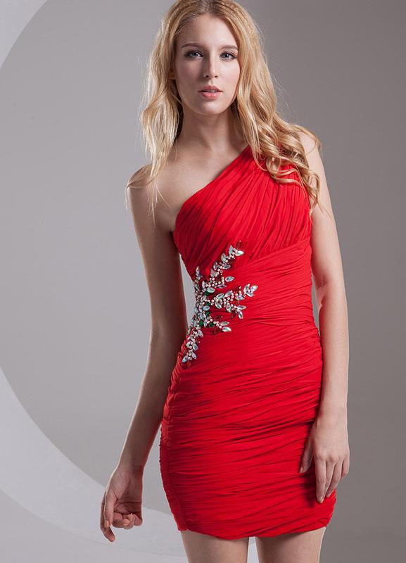 Sheath Red Beading One-Shoulder Short Fashion Cocktail Dress (Wedding Cocktail Dresses) photo