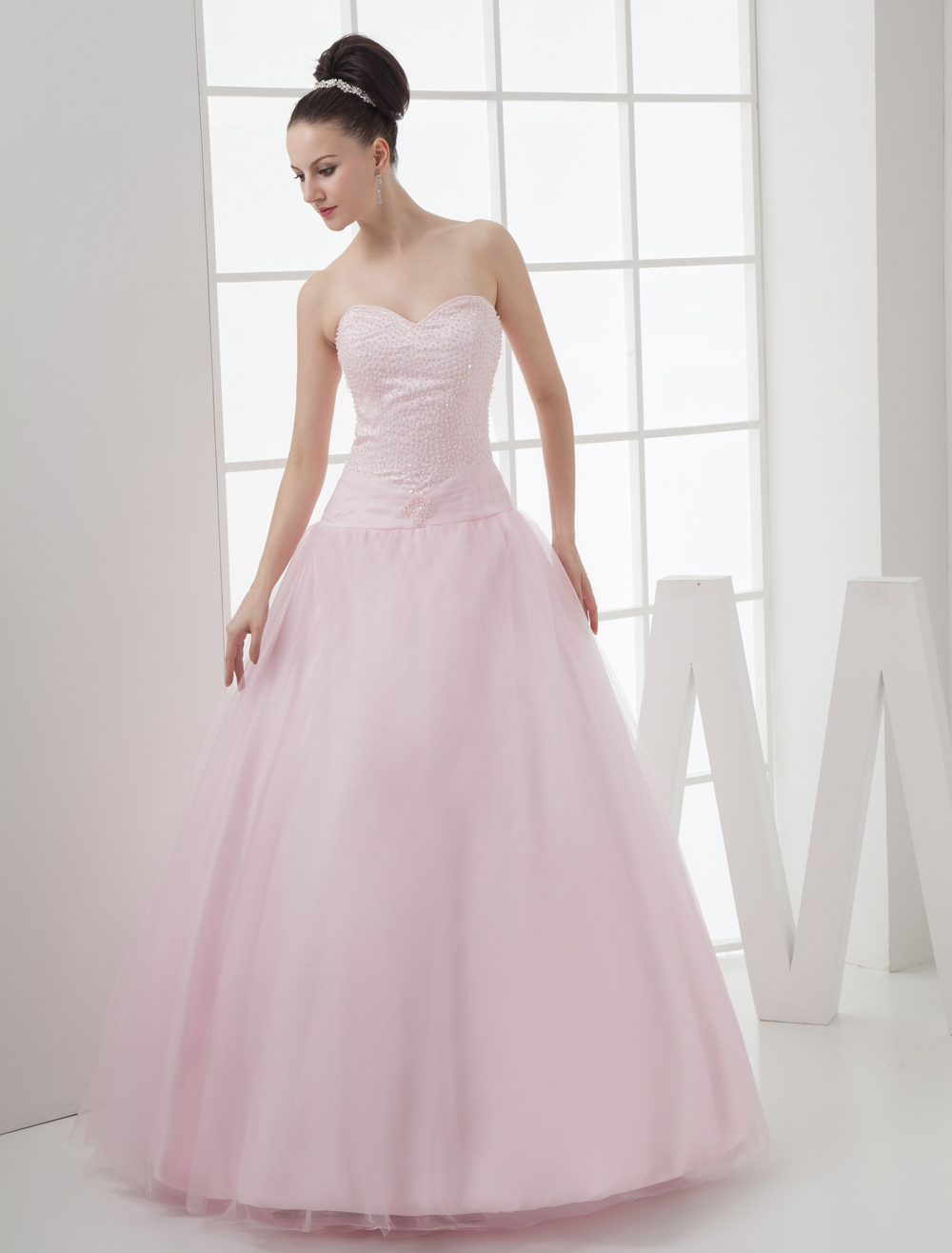 Beautiful Pink Grenadine Strapless Sweetheart Floor Length Prom Dress