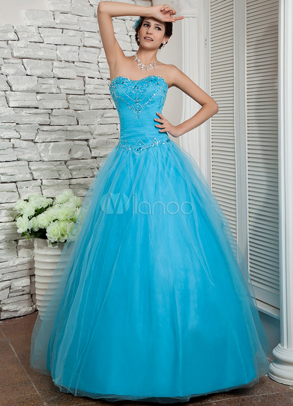 Ball Gown Blue Sweetheart Neck Quinceanera Dress
