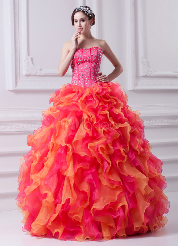 Charming Beading Ruffles Organza Strapless Ball Gown