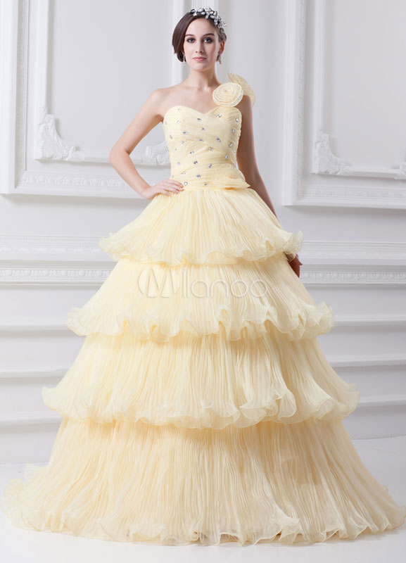 Classic Daffodil Floral Tiered Organza One-Shoulder Fashion Ball Gown
