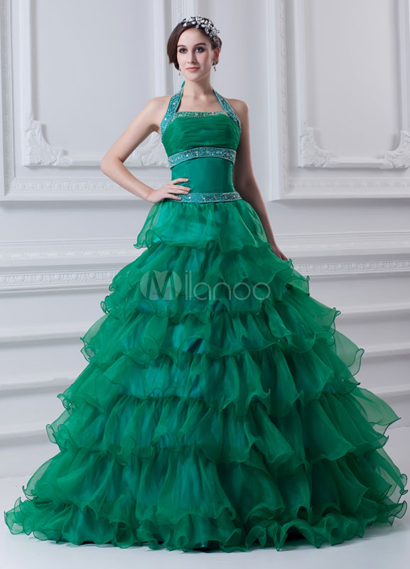 Classic Dark Green Beading Tiered Organza Halter Women's Ball Gown