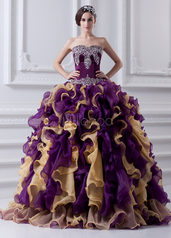 Classic Sequin Organza Satin Sweetheart Neck Ball Gown