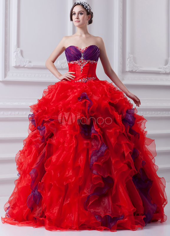 Classic Split Color Beading Organza Sweetheart Neck Ball Gown
