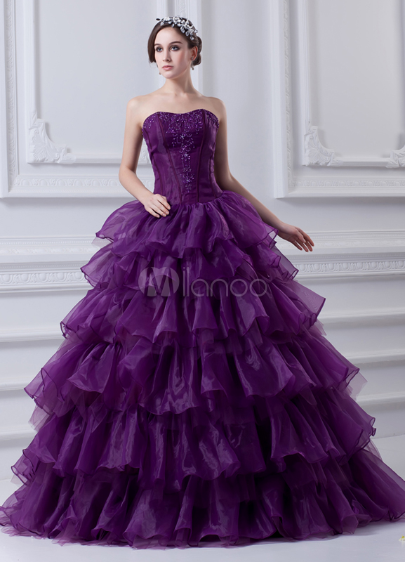 Embroidered Strapless Floor-Length Grape Organza Ball Gown