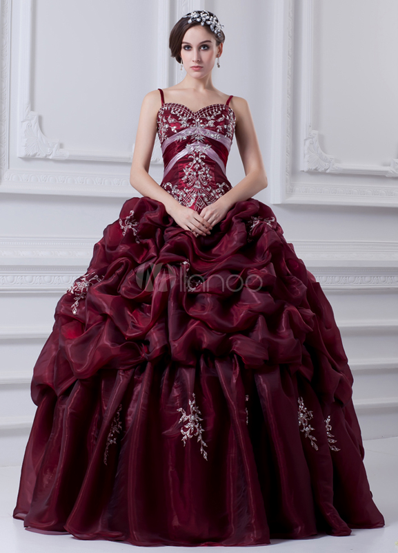 Embroidered Sweetheart Burgundy Organza Ball Gown