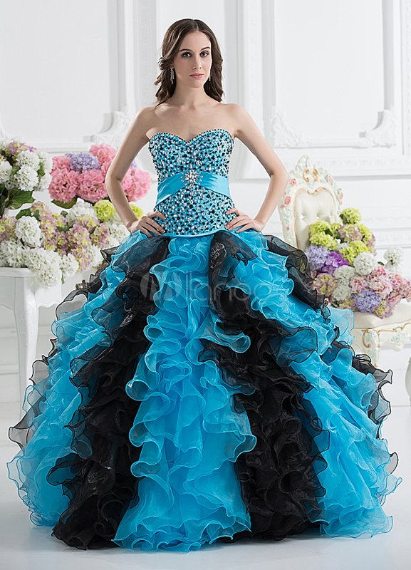 Noble Satin Organza Beading Sweetheart Women's Ball Gown