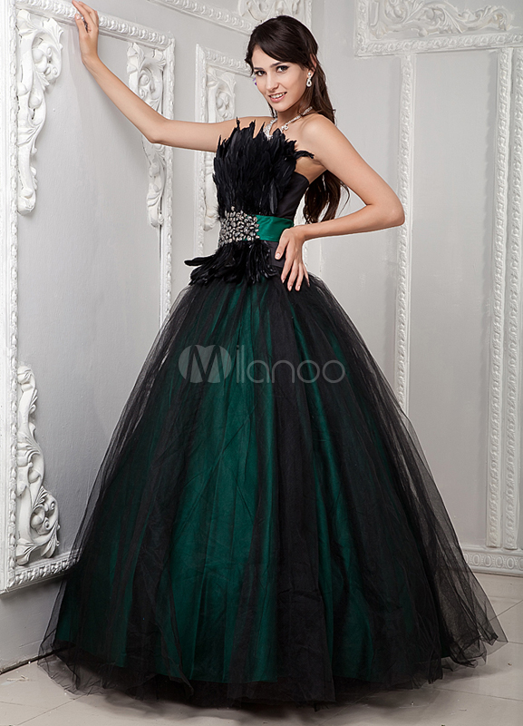 Classic Ball Gown Dark Green Quinceanera Dress - Milanoo.com